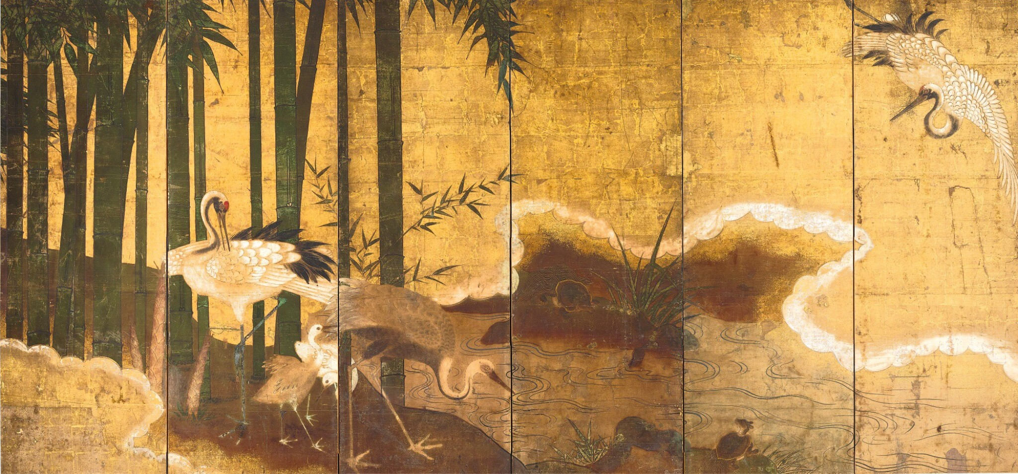 View full screen - View 1 of Lot 45. ANONYMOUS, MOMOYAMA PERIOD, LATE 16TH CENTURY | CRANES IN BAMBOO.