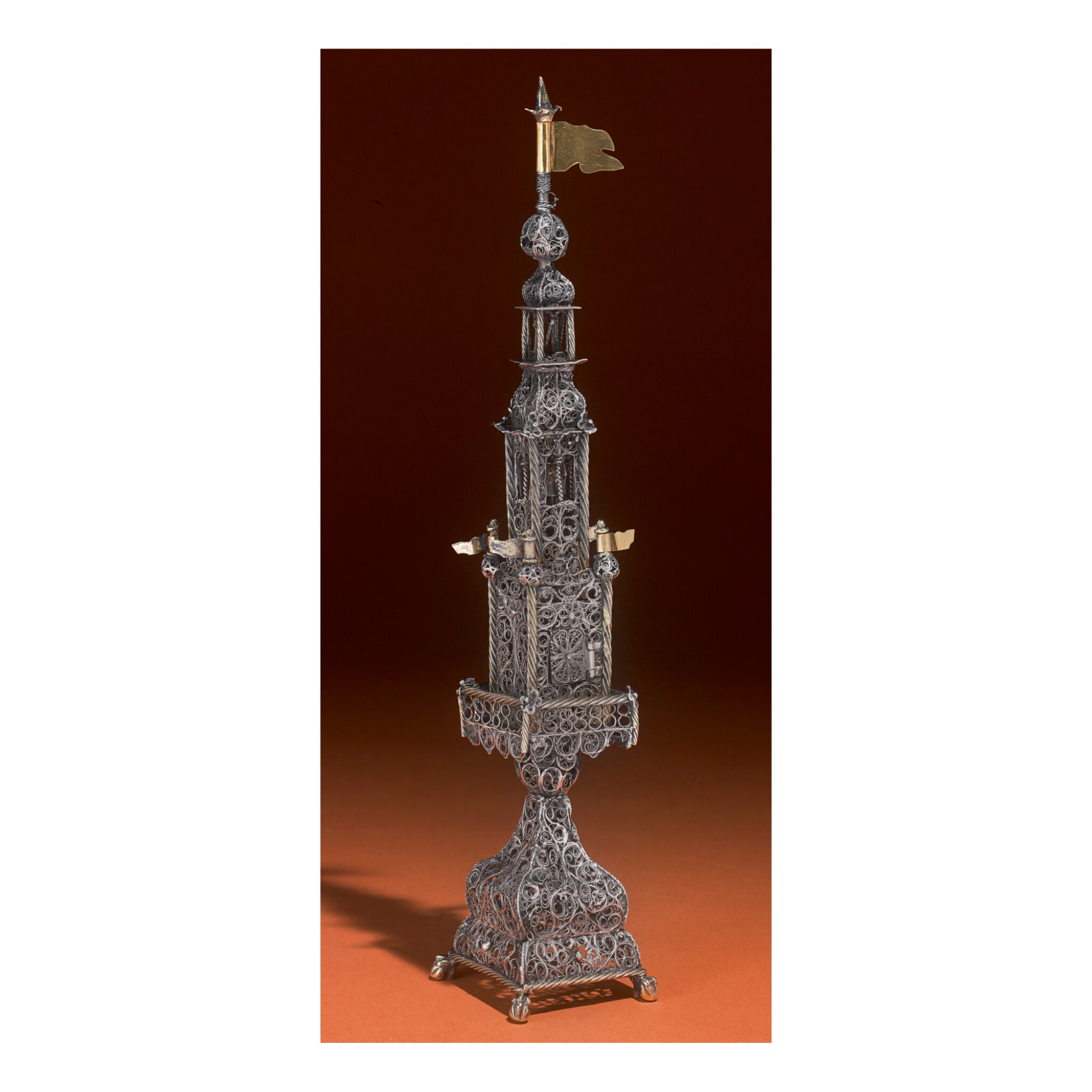 View full screen - View 1 of Lot 175. A LARGE PARCEL-GILT SILVER FILIGREE SPICE TOWER, GALICIAN, 18TH CENTURY.