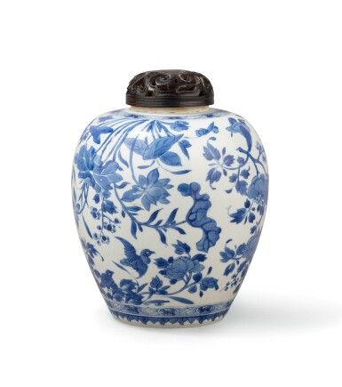 View 4. Thumbnail of Lot 283. A blue and white teapot and jar, China, Qing Dynasty, 18th-19th century.