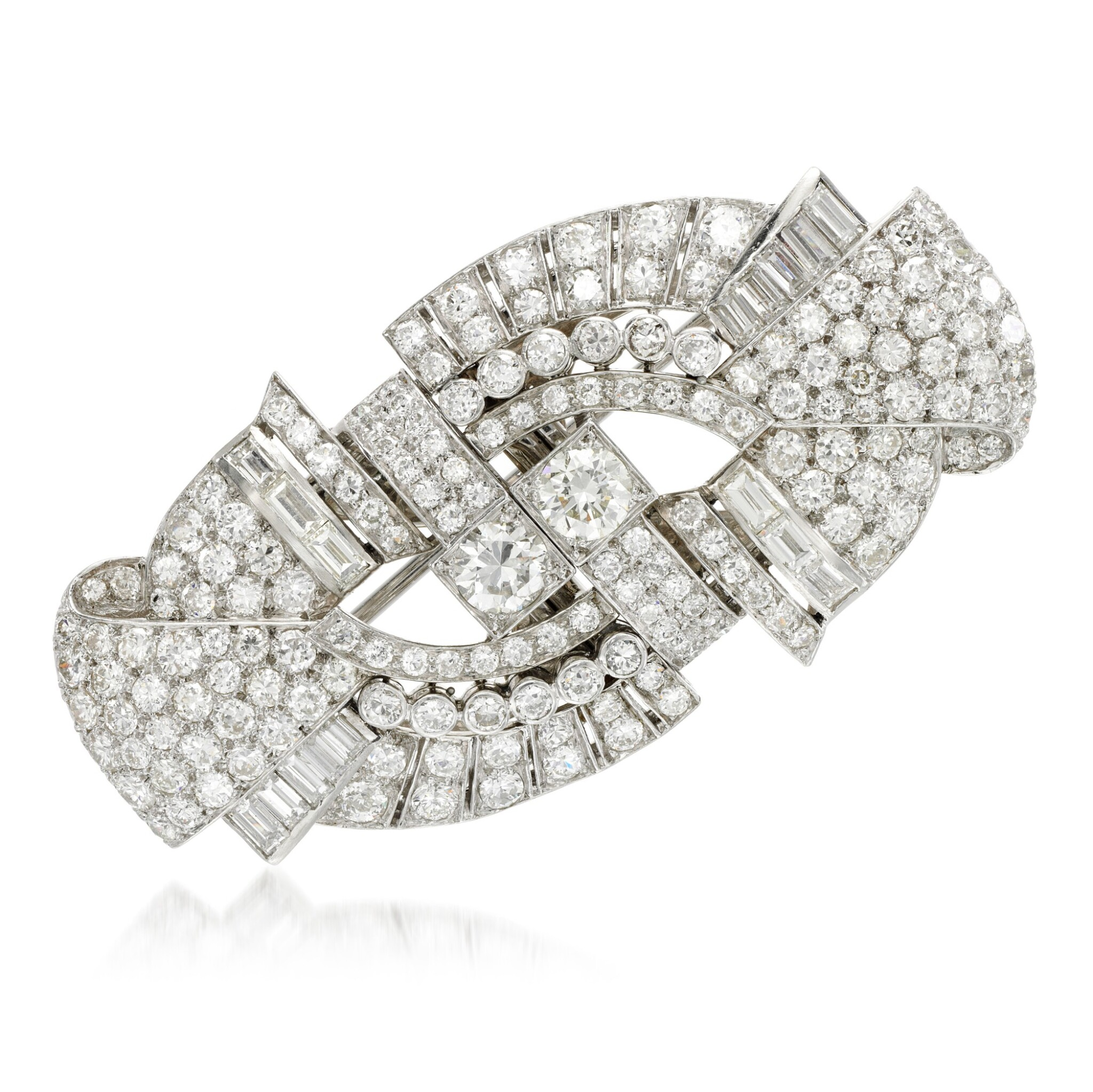 View full screen - View 1 of Lot 23. Diamond double-clip brooch, 1930s.