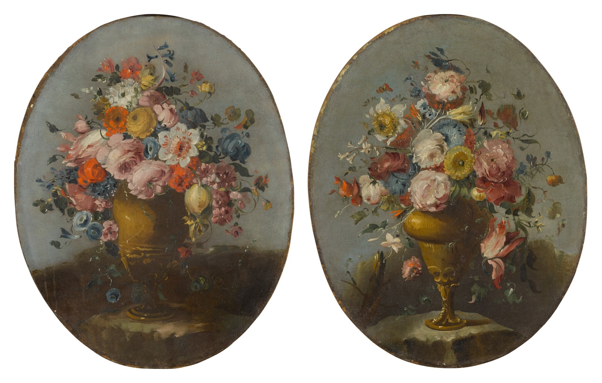View full screen - View 1 of Lot 648. A pair of still lifes of roses, anemones, and other flowers in bronze urns, resting on stone ledges.