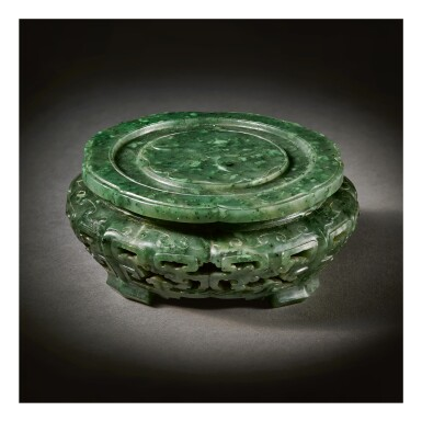 View 1. Thumbnail of Lot 233. A RARE IMPERIAL SPINACH-GREEN JADE STAND,  QING DYNASTY, QIANLONG PERIOD.