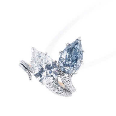 View 2. Thumbnail of Lot 340. IMPORTANT FANCY INTENSE BLUE DIAMOND RING, 'DUET', SOTHEBY'S DIAMONDS.
