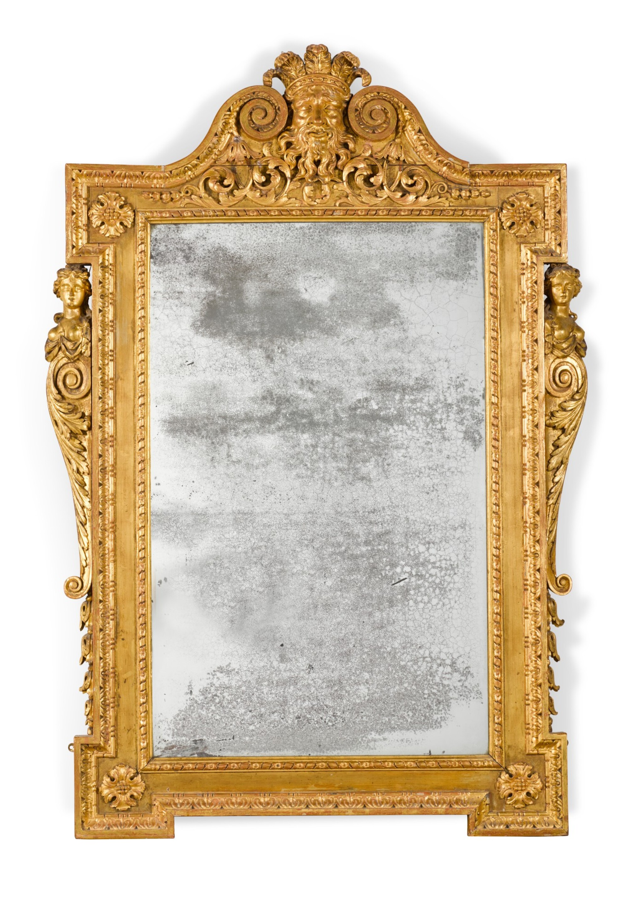 View full screen - View 1 of Lot 57. A GEORGE II CARVED GILTWOOD MIRROR, CIRCA 1735.