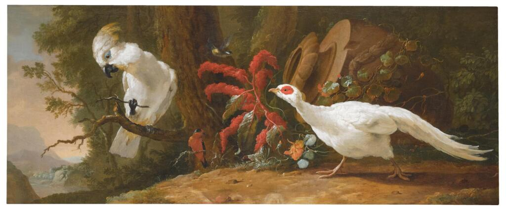 ABRAHAM BISSCHOP | A sulphur-crested cockatoo, a red-crested cardinal and a white pheasant in a landscape with a fallen urn in the background