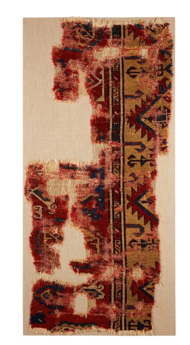 View 1. Thumbnail of Lot 141. An Anatolian rug fragment, 15th - 17th century.