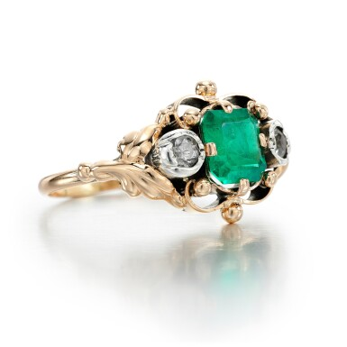 View 2. Thumbnail of Lot 328. EMERALD AND DIAMOND RING.