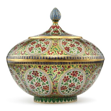 View 2. Thumbnail of Lot 62. A fine enamelled gold bowl and cover, India, Rajasthan, Jaipur, 19th century.
