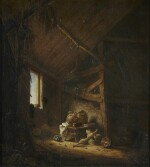 HERMAN SAFTLEVEN | A BARN INTERIOR WITH LIGHT STREAMING THROUGH A WINDOW