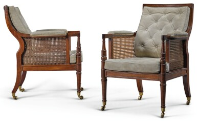 View 2. Thumbnail of Lot 16. A PAIR OF REGENCY CANED MAHOGANY LIBRARY ARMCHAIRS, FIRST QUARTER 19TH CENTURY, ATTRIBUTED TO GILLOWS.