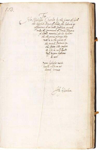 View 2. Thumbnail of Lot 242. Hexham, Principles of the art militarie, London, 1637, black morocco gilt, presentation copy to Charles II.
