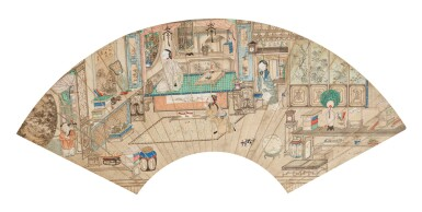 View 1. Thumbnail of Lot 116. Anonyme Scène d'intérieur avec personnages Dynastie Qing | 清 人物故事圖 | Anonymous, Interior scene with characters, ink and colour on paper, fan leaf, Qing Dynasty.