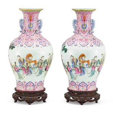 A RARE AND SUPERB PAIR OF PINK-GROUND FAMILLE-ROSE 'TWELVE BEAUTIES' VASES SEAL MARKS AND PERIOD OF DAOGUANG | 清道光 宮粉地粉彩十二金釵雙耳瓶一對 《大清道光年製》款