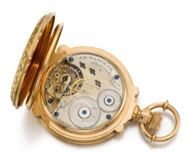 View 5. Thumbnail of Lot 20. AMERICAN WATCH CO., WALTHAM  [ American Watch Co., 沃爾瑟姆]  | A VARI-COLOUR GOLD HUNTING CASED LEVER WATCH WITH LOCOMOTIVE SCENE AND BOX-HINGES    CIRCA 1886, MODEL 1872, NO. 1392908  [ 多色黃金懷錶飾火車頭場景,年份約1886,型號1872,編號1392908].