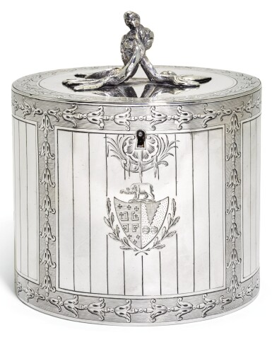 A GEORGE III SILVER TEA CADDY, AARON LESTOURGEON, LONDON, 1771