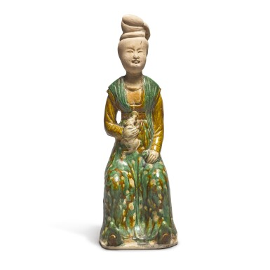 View 2. Thumbnail of Lot 691. A RARE SANCAI-GLAZED POTTERY FIGURE OF A SEATED COURT LADY, TANG DYNASTY.