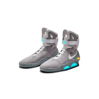 View 2. Thumbnail of Lot 1. Michael J. Fox Dual Signed Nike MAG 'Back to the Future' | 2011.
