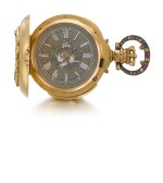 SWISS | RETAILED BY E. MANSBERGER, MADRID: A LADY'S GOLD, DIAMOND, RUBY AND EMERALD-SET HUNTING CASED MINUTE REPEATING KEYLESS LEVER WATCH WITH ENGRAVED PORTRAIT MADE FOR THE SPANISH CROWN  CIRCA 1885, NO. 106508