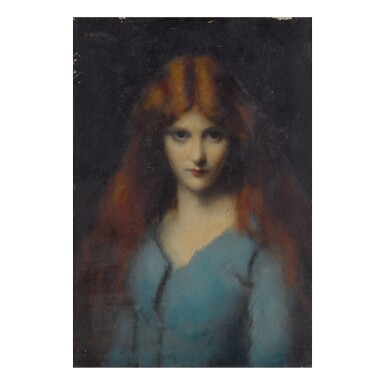 JEAN JACQUES HENNER | HEAD OF A YOUNG GIRL IN A BLUE DRESS