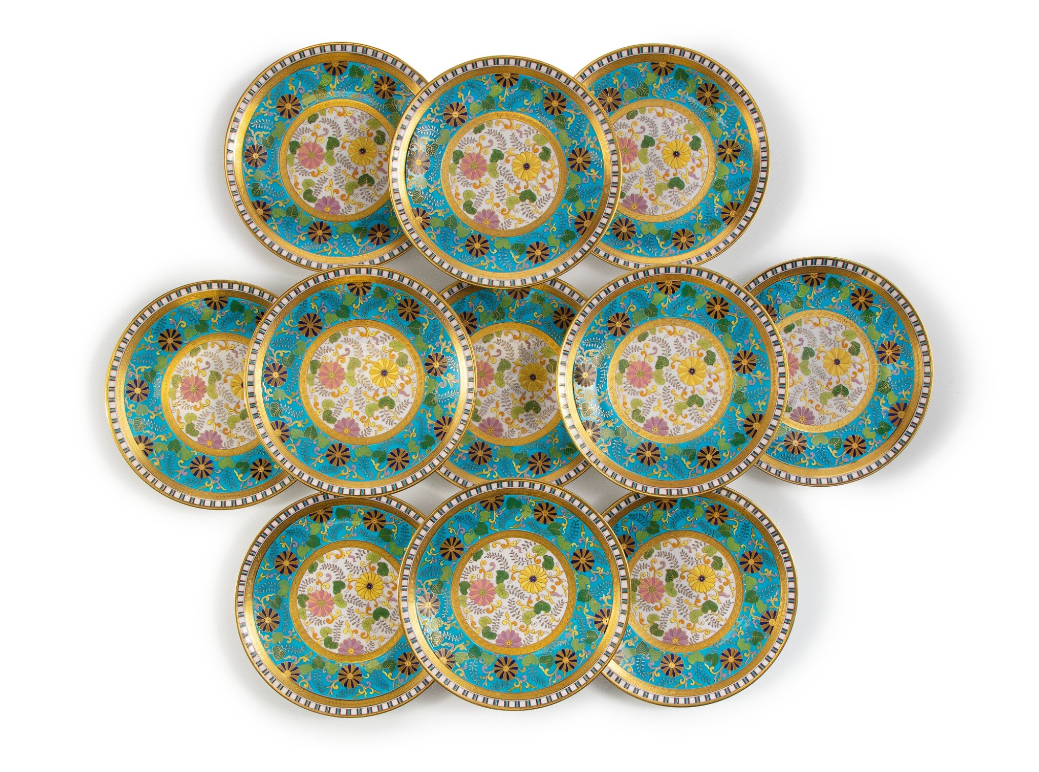 View full screen - View 1 of Lot 286. A SET OF TWELVE MINTONS 'CLOISONNE' PLATES, 1879-1881.