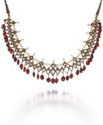 A DIAMOND-SET NECKLACE WITH SPINEL DROPS (CHAMPAKALI), NORTH INDIA, 18TH/19TH CENTURY