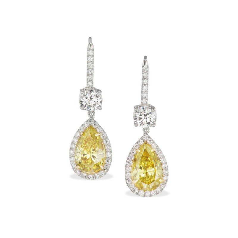 Pair of Fancy Colored Diamond and Diamond Earrings