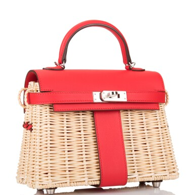 View 2. Thumbnail of Lot 184. Hermès Rare Rouge De Coeur Mini Kelly Picnic Bag of Osier Wicker and Swift Leather.