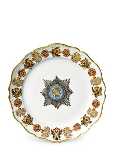 View 1. Thumbnail of Lot 347. A porcelain plate from the service of the Order of St Andrew, Imperial Porcelain Factory, St. Petersburg, period of Alexander II (1855-1881).
