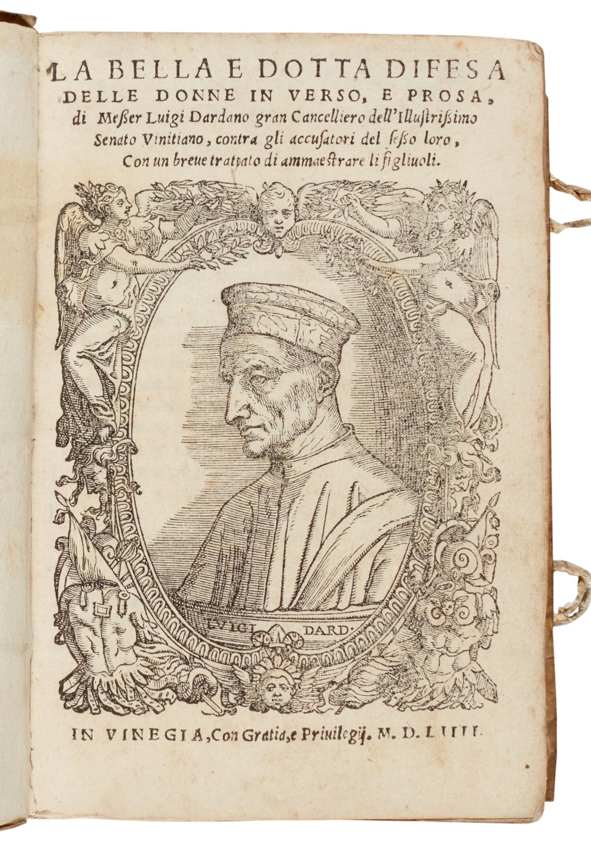 View full screen - View 1 of Lot 102. Dardano, La bella e dotta difesa delle donne, Venice, 1554, contemporary limp vellum.