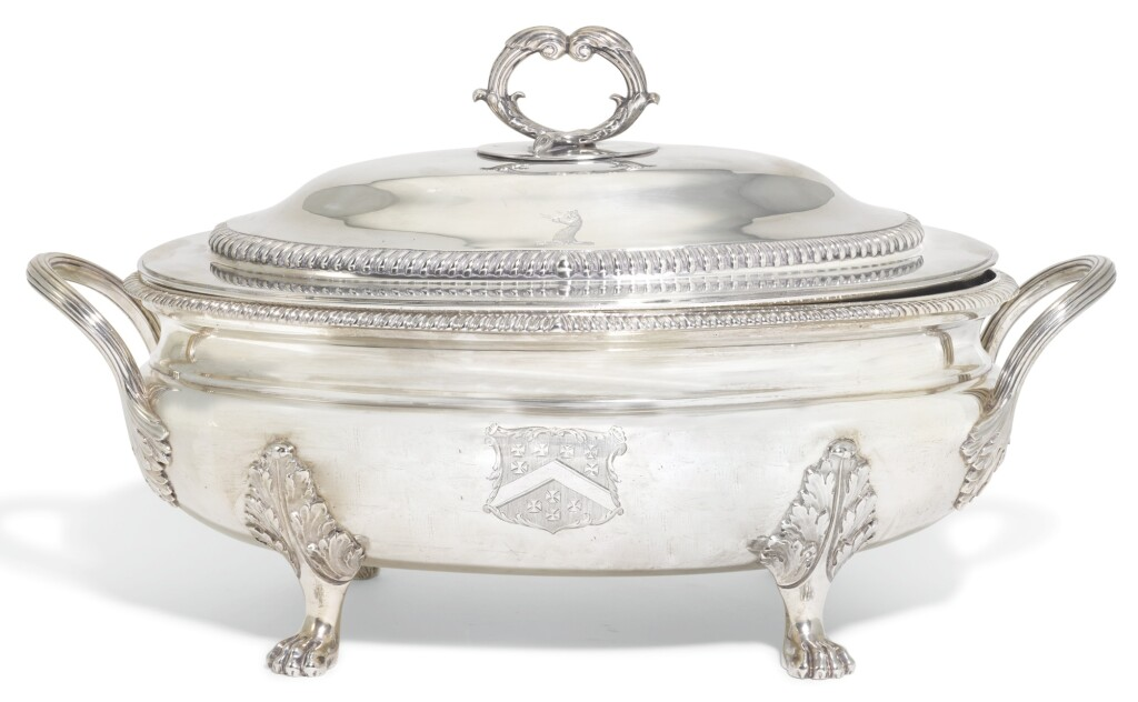 A GEORGE III SILVER SOUP TUREEN AND COVER, WILLIAM STEVENSON, LONDON, 1808