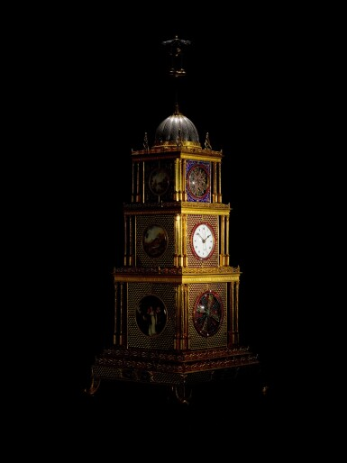 View 10. Thumbnail of Lot 16. John Mottram. A George III gilt-brass and enamel musical automaton clock for the Chinese market, London, circa 1790.