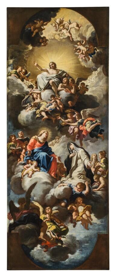 View 1. Thumbnail of Lot 142. LUIGI GARZI | THE VIRGIN PRESENTING SAINT CATHERINE OF SIENA TO CHRIST IN GLORY.
