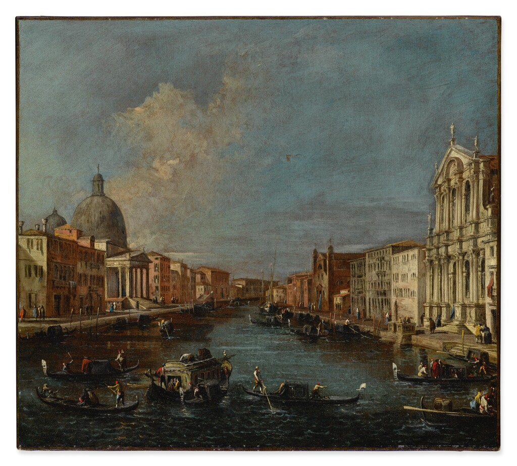 ATTRIBUTED TO FRANCESCO GUARDI   VENICE, A VIEW OF THE GRAND CANAL WITH SAN SIMEONE PICCOLO