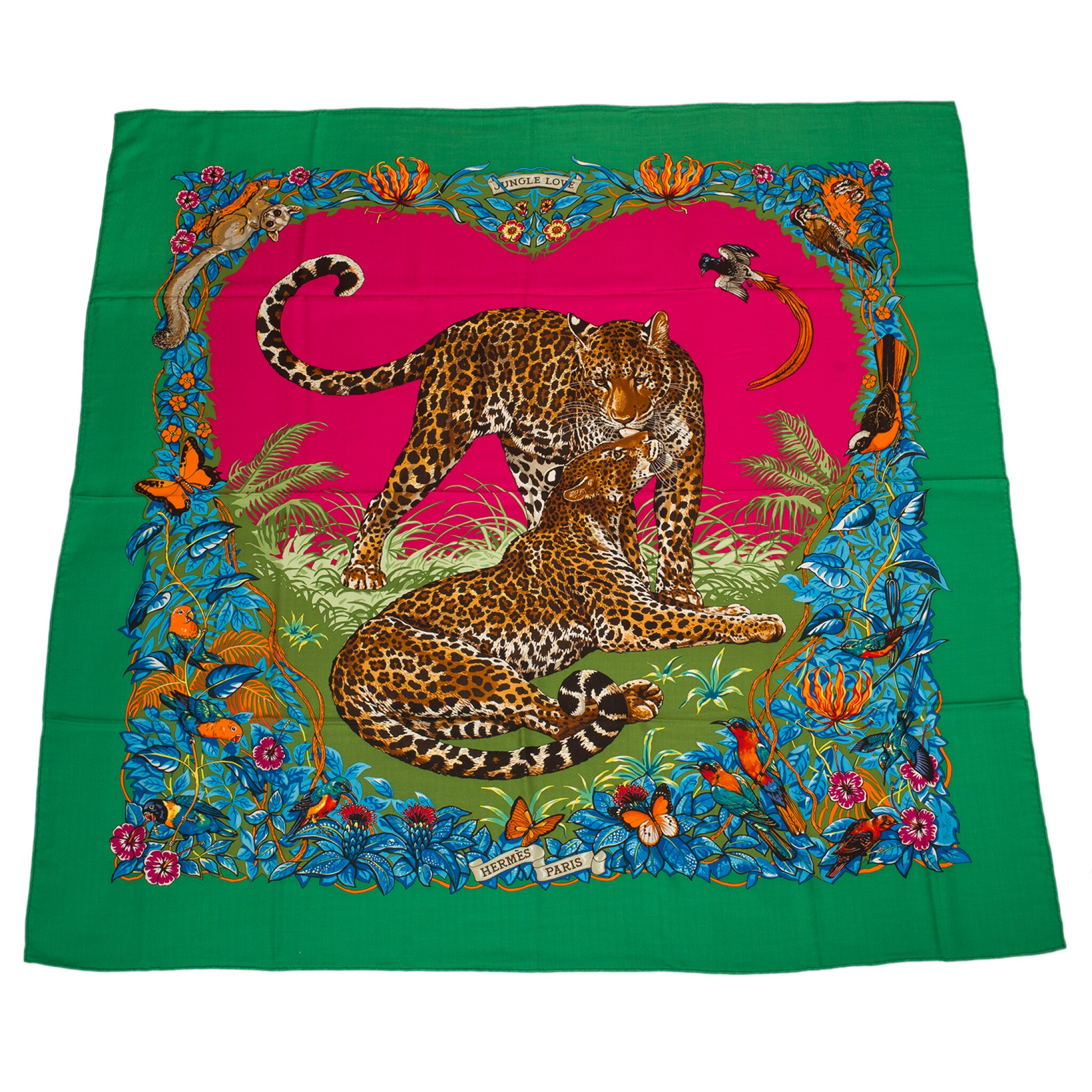 """View full screen - View 1 of Lot 126. Hermès """"Jungle Love"""" Cashmere and Silk Shawl 140cm."""