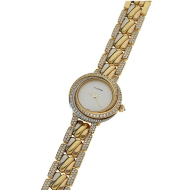 View 2. Thumbnail of Lot 42. CARTIER | REF 2357 TRINITY, A TRI-COLOR GOLD AND DIAMOND SET BRACELET WATCH CIRCA 2015.