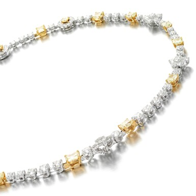 View 1. Thumbnail of Lot 18. Coloured diamond and diamond necklace.