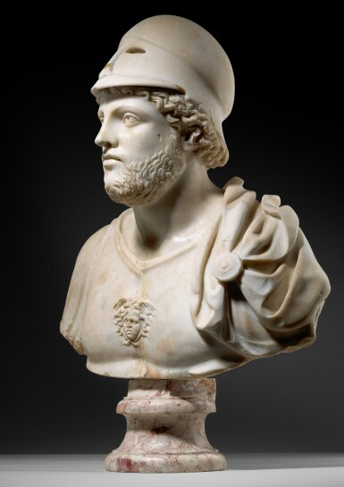 View 3. Thumbnail of Lot 30. A ROMAN MARBLE CUIRASSED BUST OF MARS, CIRCA LATE 4TH CENTURY A.D..