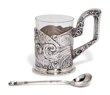View 2. Thumbnail of Lot 236. A silver tea glass holder and a spoon, 4th Artel, Moscow, and Grachev Brothers, St Petersburg, 1908-1917.