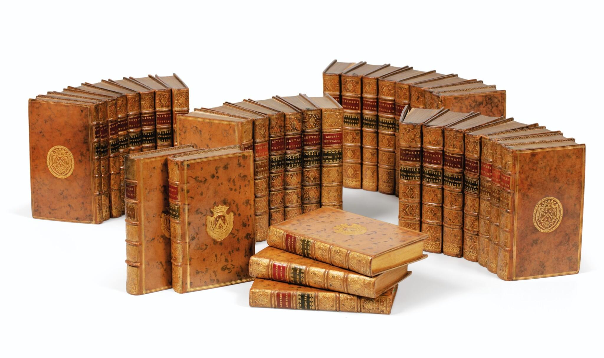 View full screen - View 1 of Lot 204. COMPAGNIE DE JESUS. Lettres édifiantes... 1717-1776. 34 vol. Ex. aux armes du duc d'Aumont..