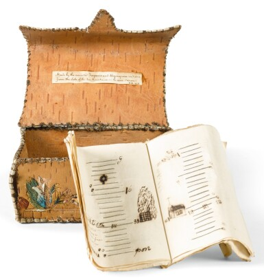 View 1. Thumbnail of Lot 197. A NORTHEASTERN EMBROIDERED BIRCHBARK BOX AND ALMANAC.