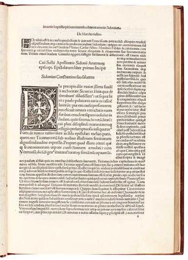 Sidonius Apollinaris, Epistola et carmina, Milan, 1498, modern red morocco