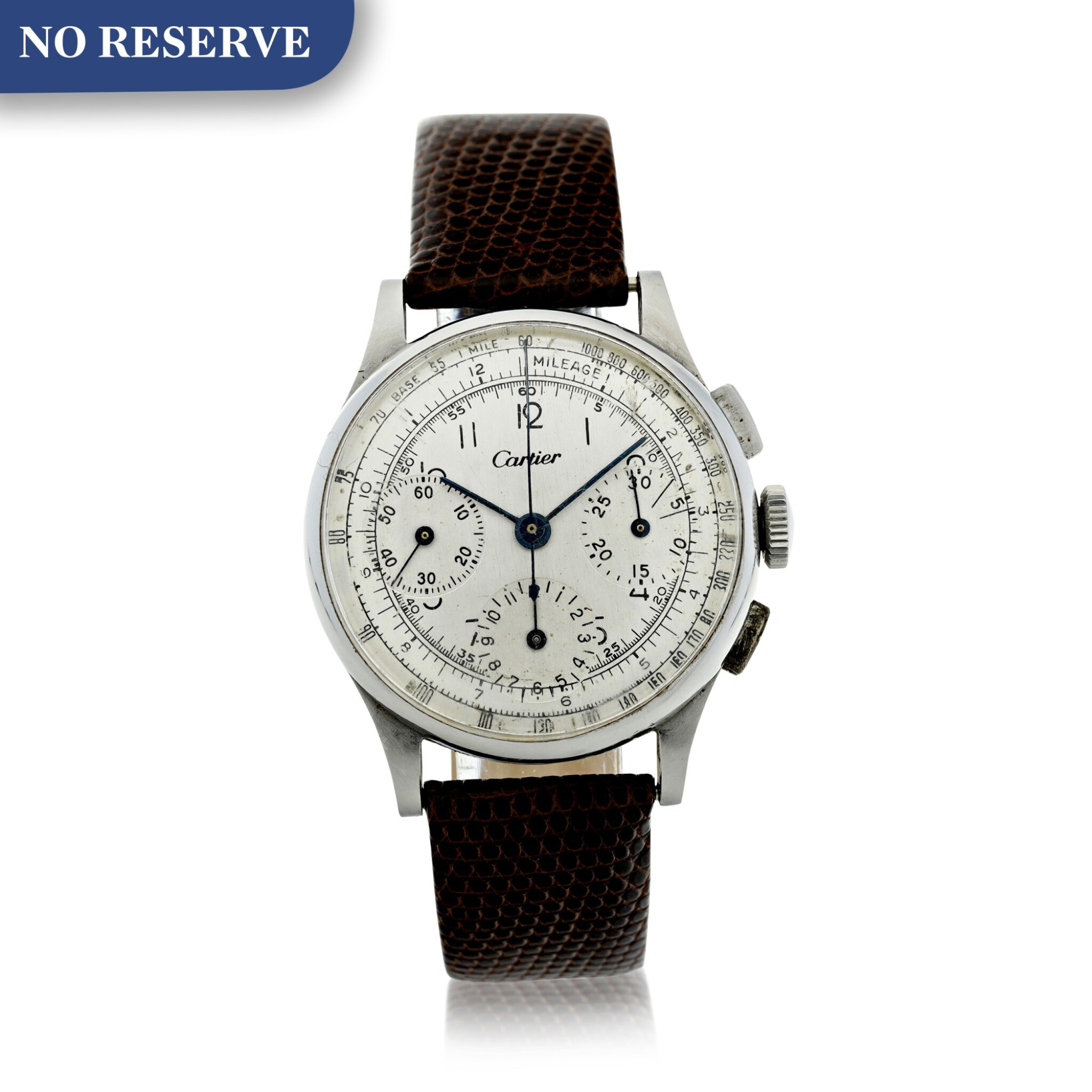 View full screen - View 1 of Lot 97.  LECOULTRE   REFERENCE 7090  RETAILED BY CARTIER: A STAINLESS STEEL CHRONOGRAPH WRISTWATCH, CIRCA 1945.