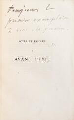 """Actes et Paroles. 1875-1876. 3 vol, chacun avec un envoi à Juliette Drouet, """"la première"""""""