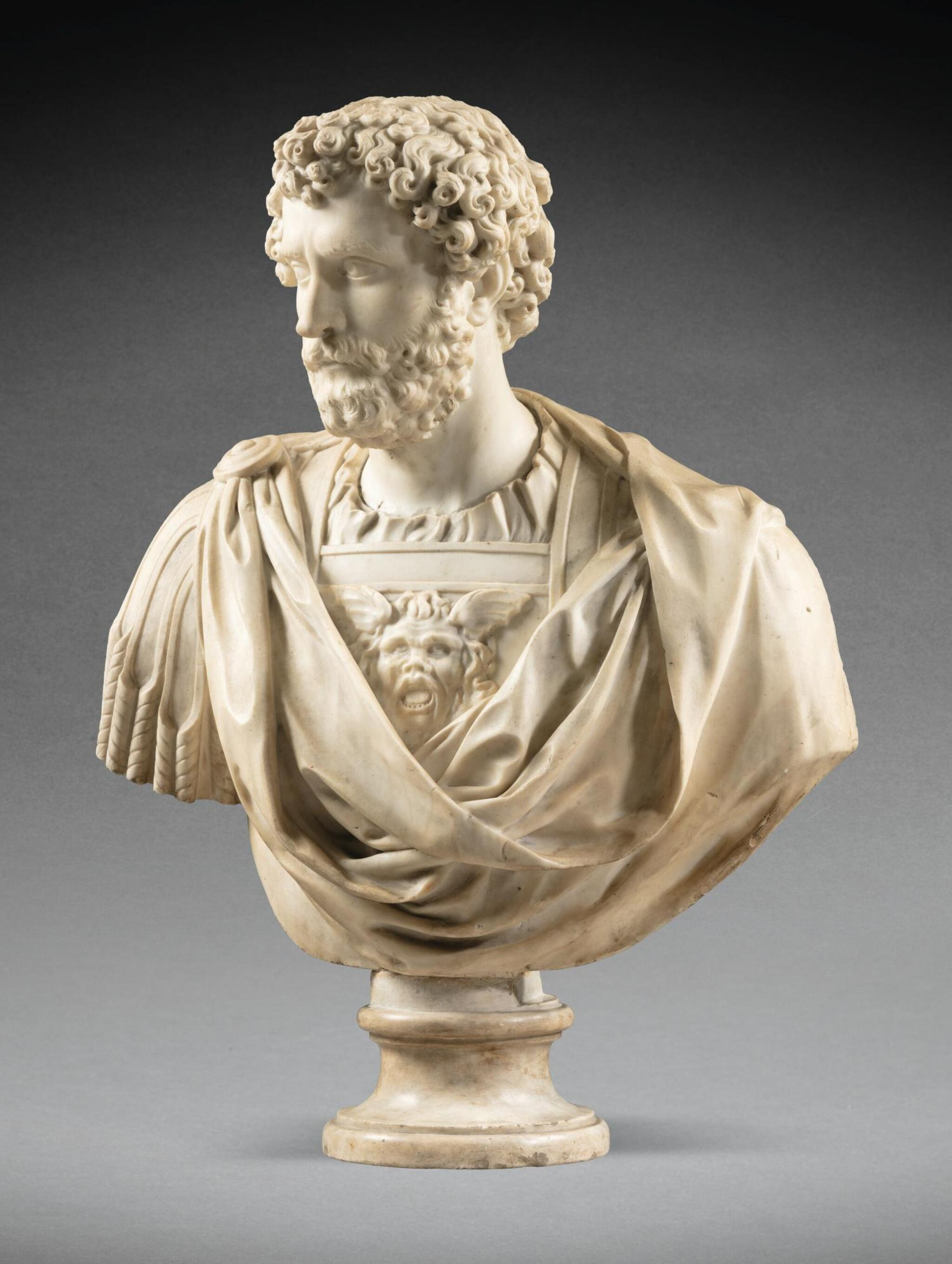 View full screen - View 1 of Lot 98. FRENCH, CIRCA 1675-1725, AFTER THE ANTIQUE   BUST OF EMPEROR SEPTIMIUS SEVERUS (145-211 C.E.).