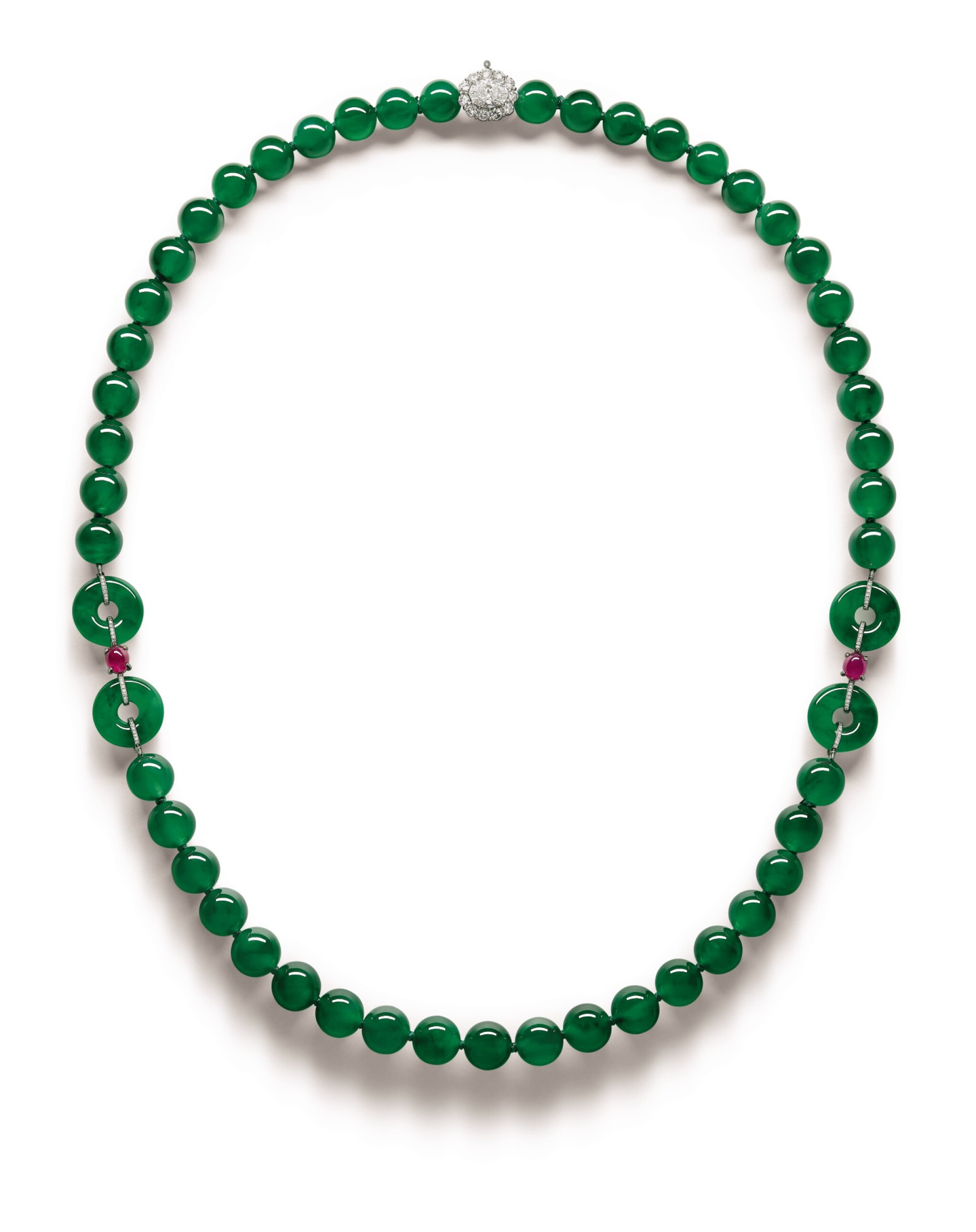 View full screen - View 1 of Lot 1765. A Fine and Unique Jadeite Bead, Diamond and Ruby Necklace | 【四季平安】天然翡翠珠 配 鑽石 及 紅寶石 項鏈.