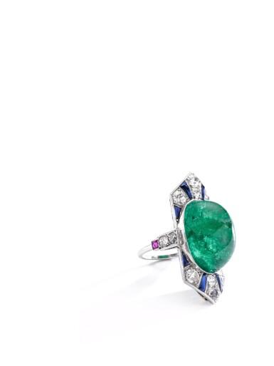 View 5. Thumbnail of Lot 609. Henri Picq | Emerald and gem set and diamond ring, circa 1930 | Henri Picq | 祖母綠配寶石及鑽石戒指,年份約1930.