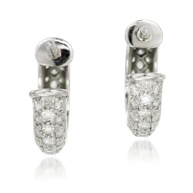 View 3. Thumbnail of Lot 53. Cartier | Pair of diamond earrings.