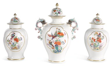 A MEISSEN THREE PIECE GARNITURE OF VASES AND COVERS