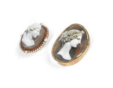 View 2. Thumbnail of Lot 5. DEUX BROCHES CAMÉES   TWO CAMEO BROOCHES.