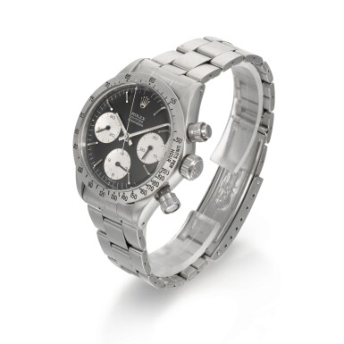 View 2. Thumbnail of Lot 370. ROLEX   REFERENCE 6265 DAYTONA, A STAINLESS STEEL CHRONOGRAPH WRISTWATCH WITH REGISTERS AND BRACELET, CIRCA 1972.